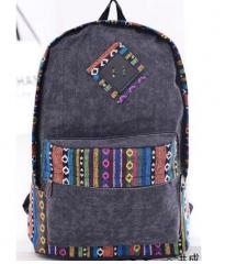 new female bolsas women ethnic brief canvas backpack preppy style girl school Travel laptop bag deep gray one size