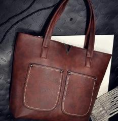 Women handbags ladies simple bags laptop shoulder tote bag Deep Brown one size