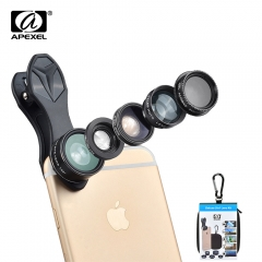 5 in 1 Fisheye Wide Angle Macro lens Telescope telephoto lens CPL Mobile Phone mini camera lens black one size tpe