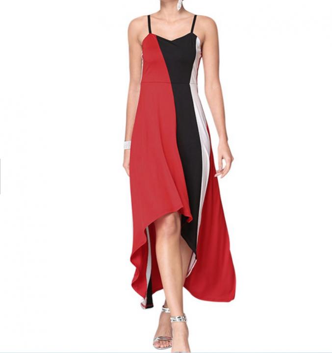 Spaghetti Strap Hit Color Asymmetric Hem Maxi Dress Dress Red s