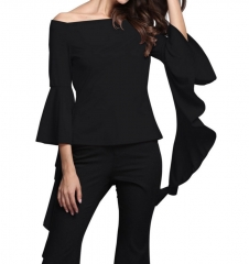 Women's Bodycon Waterfall Sleeve Off the Shoulder Tops black s