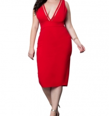 Women Plus Size Deep V Neck  Back Zipper Pencil Party Dress red xl