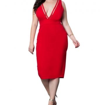 Women Plus Size Deep V Neck  Back Zipper Pencil Party Dress red xl