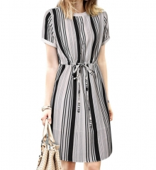 Women Stripe Short Sleeves Tie Front Midi Dress Fit  Dress Stripe m