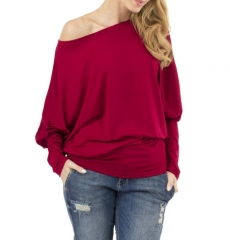 Women Off Shoulder Bat Sleeve Loose Tops Shirt Blouse Red s
