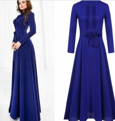 Long Sleeve Chiffon Maxi Long Evening Party Elegant Dress Dark Blue m