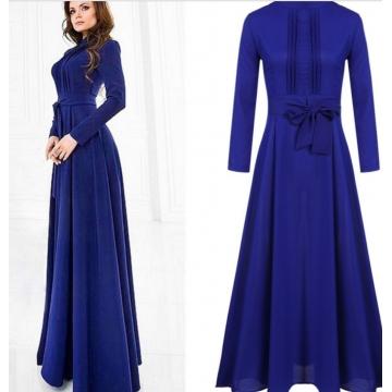 Long Sleeve Chiffon Maxi Long Evening Party Elegant Dress Dark Blue m