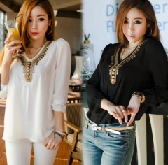 Korean Tops T-shirt Long Sleeve Shirt white one size