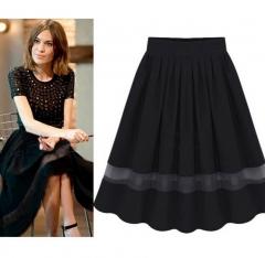 Casual Elastic Waist Pleated Chiffon Midi Skirt With Organza black one size