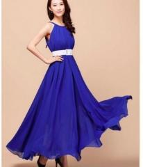 Elegant Long Dress Dark Pink one size