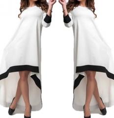 Cotton Maxi Dress Casual Dresses Pockets Vestidos white l