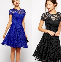 Stylish Short Sleeve O-Neck Sexy Lace Zipper Dress blue l