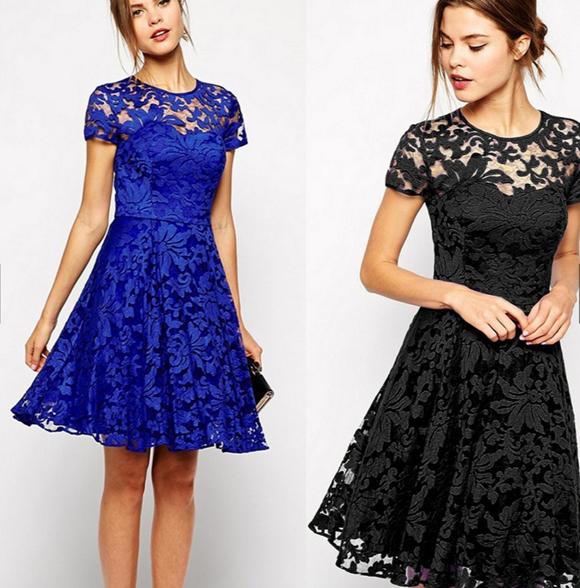 Stylish Short Sleeve O-Neck Sexy Lace Zipper Dress blue l
