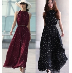 Women's Dot Vest Maxi Full Long Dress Sleeveless With Belt Wine Red one size
