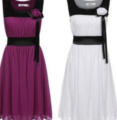Women Chiffon Sleeveless Multi Layer A-Line Dress White m