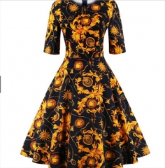Vintage 1950s Floral Print Swing Dress Golden l