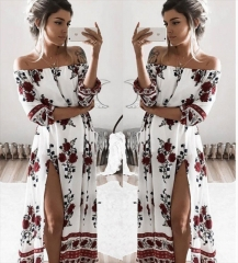 Women Off Shoulder Floral Half Sleeve Sides Split Maxi Dress white s