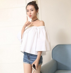 Simple Style Off-shoulder Top white one size
