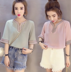 Chiffon Embroidery Top pink s