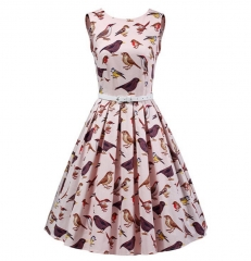 Women Sleeveless Bird Printed Vintage Swing Dresses Party Picnic Cocktail Dress pink m