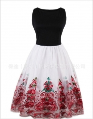 Women Cotton Hepburn Robe Vintage Dress Pin Up Floral Vestidos Retra Party Dresses Sundress red s