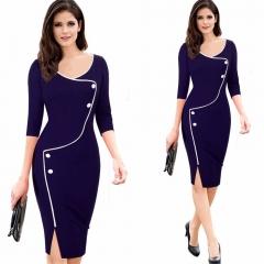 Summer Office Dress Women Half Sleeve Bodycon Midi Dress Split Party Elegant Ladies Dress blue s