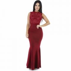 Women Vintage Sleeveless Dress Elastic Cotton Spring Summer Dress Elegant Party Dresses red s