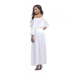 Fashion Dress Slash Neck Long Dress Engagement Evening Party Floor Length Dress white m