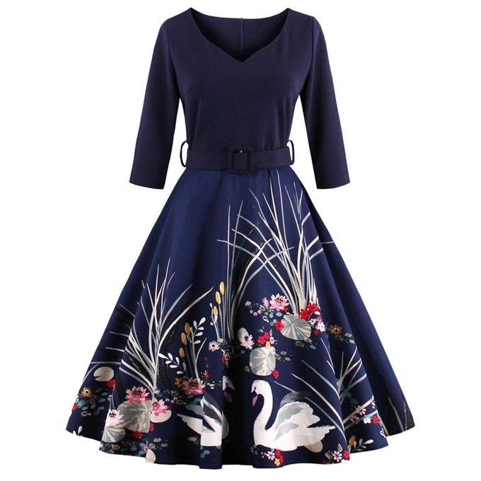 New Summer Women Dresses Printing Fashion V-neck Party Dress Elegant Dress Casual Ball Gown Dresses blue l
