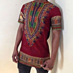 Men's T-Shirt  Simple Pullover  Africa Ethnic Style Short Sleeve Round Neck Printed Long Shirt red 5xl
