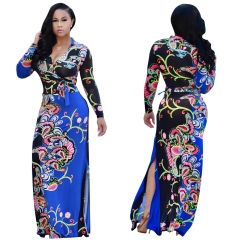 Women Sexy Print Maxi Dresses Long Sleeve Bodycon Elegant Dress Large Hem Floor-Length Floral Dress blue xl
