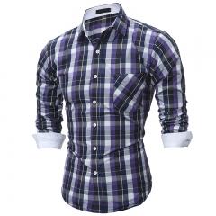 Men's plaid shirt Classic Long Sleeve Shirt Mens Dress Shirts Brand Casual Business Style Shirts purple l