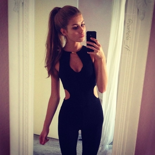 New Style Woman Sexy Sleeveless V-neck Hollow Out Design Backless Woman Zipper Jumpsuit black s