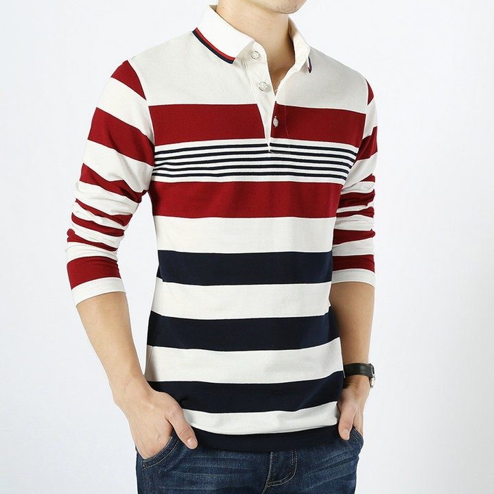 Men's Stripe Long Sleeve T-Shirt Stand Collar Male Slim Fit Cotton Tops Tees Causal T-shirt Clothes White M
