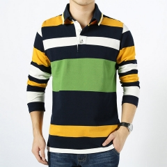 Men's Stripe Long Sleeve T-Shirt Stand Collar Male Slim Fit Cotton Tops Tees Causal T-shirt Clothes Yellow XXXXL