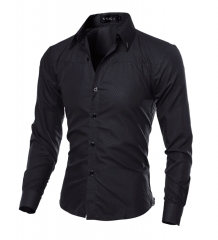 Shirts Mens Shirt Slim Fit Male ShirtsMen Shirt Solid Mesh Heren Hemden Camisa Masculina Black XL