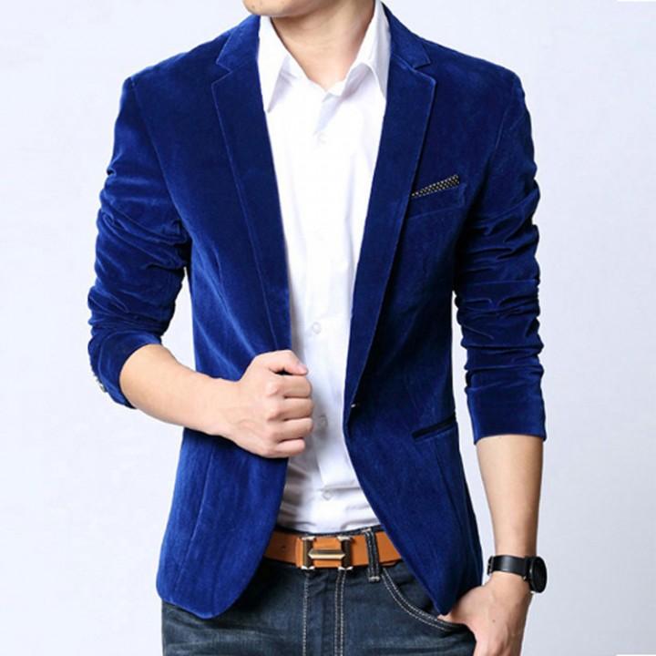 Mens Wedding Suit Groom Blue Velvet Blazer Slim Fit Red Blazer Dress