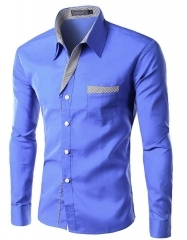 Brand Dress Shirts Mens Striped Shirt 21136 blue m