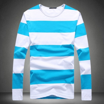 2017 O-Neck Slim Fit Long Sleeve T Shirt Mens Clothing Striped Casual Cotton Tee Shirt 5XL4754 sky blue l