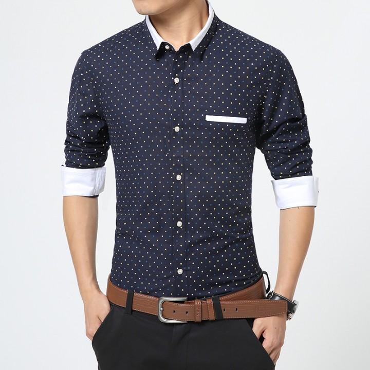 Men Clothes Polka Dot Casual Men Shirts Long Sleeve Slim Fit Shirts ...