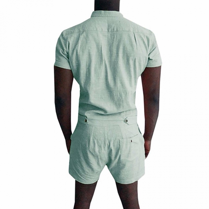 7734d6648e4f Men Linen Shirt Short Sets Single Breasted Jumpsuit Fashion Overalls  Tracksuit Casual Cargo Pants white xl