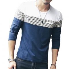 Fashion T-Shirt Men Brand Long Sleeve Patchwork Striped T Shirts Mens Casual Hip Hop T Shirt Male blue l