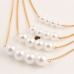 Multi-layer Pearl Metal  Fashion Necklace gloden one size