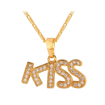 Kiss Lover Necklaces & Pendants 18K Gold Plated Crystal Cubic Zirconia Necklace Women Gift 18k gold plated length : 50 cm+5 cm