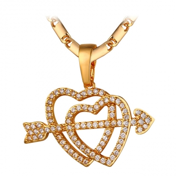 U7 Arrow of Cupid Couple Heart Necklaces & Pendants 18k Gold Plated Crystal Zirconia Necklace 18k gold plated length : 50 cm+5 cm