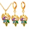 Colorful Jewelry Sets For Women Crystal Strawberry 18k Gold/Platinum Plated Necklace Earring Sets gold plated one size