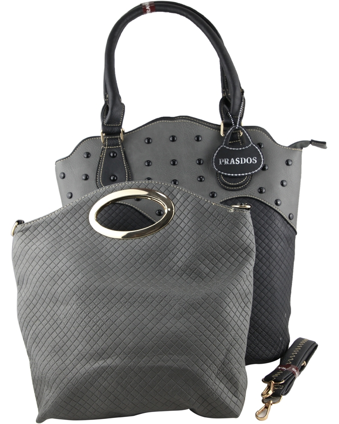 fdd0ff9a42 Prasdos 2 In 1 Leather Tote Handbag - Gray One Size 64656