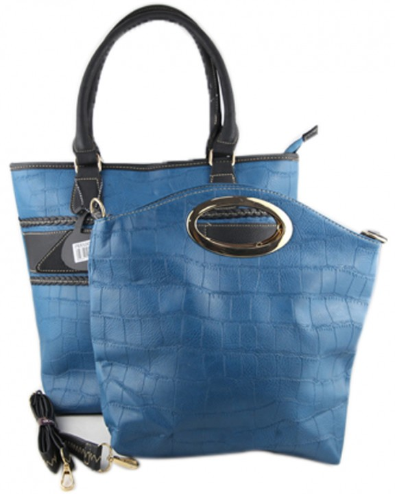 82ffd2c7f9 Prasdos 2 In 1 Textured Leather Tote Handbag with Detachable Strap - Blue  One Size