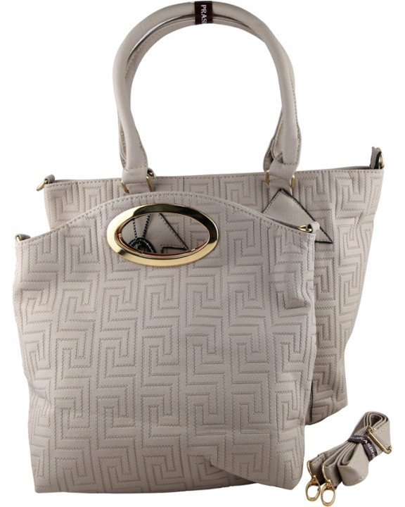 Prasdos Prasdos 2 In 1 Leather Aztec Print Handbag with Detachable Strap -  Cloud Gray One 130f7ce1d8786