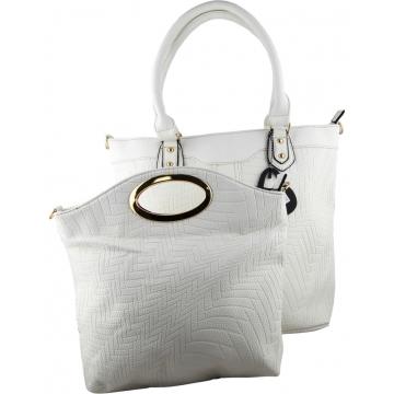 Prasdos 2 In 1 Aztec Print Leather Tote Handbag with Detachable Strap -  White 65564  210bd60e7ccde